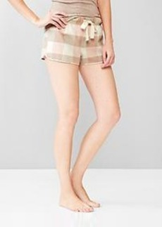 Plaid brushed cotton shorts