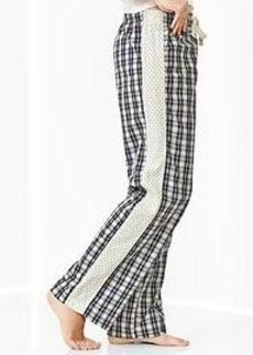 Plaid poplin pants