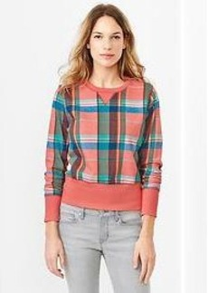 Plaid shrunken sweatshirt