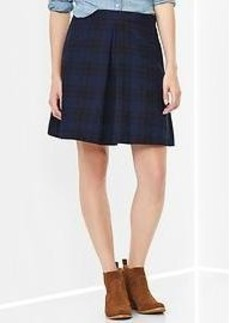 Plaid single-pleat skirt