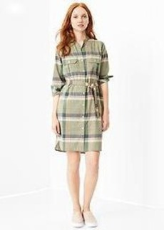 Plaid utility shirtdress
