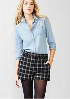 Plaid wool trouser shorts
