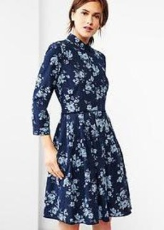 Pleated floral chambray dress