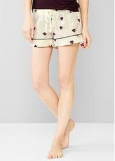 Poplin heart sleep shorts