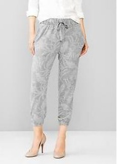 Printed crop jogger pants