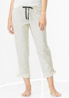Printed poplin tie-up capris
