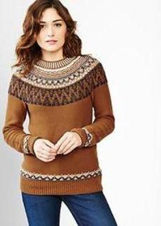 Reverse fair isle mockneck sweater