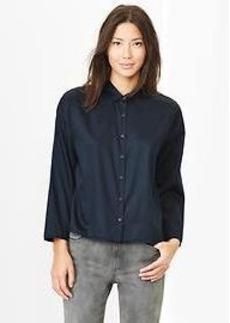 Sateen crop shirt