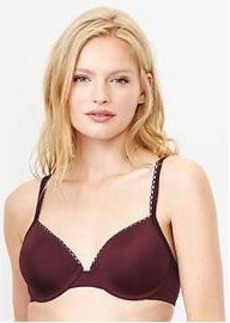 Satin lace-trim T-shirt bra