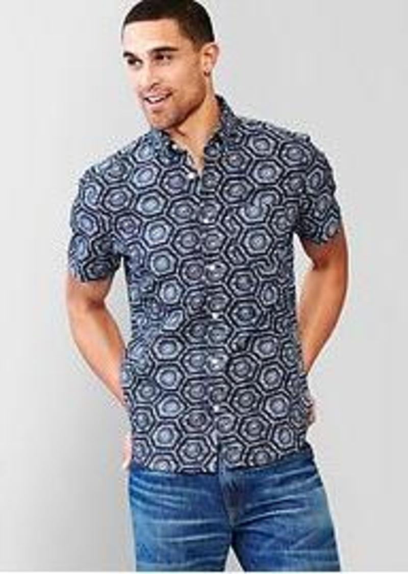 Gap seersucker tile print shirt casual shirts shop it for Mens seersucker shirts on sale