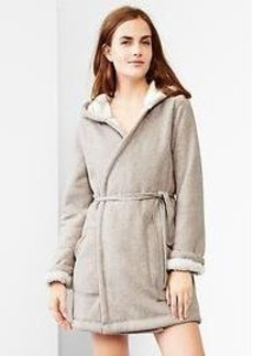 Sherpa-lined hooded robe