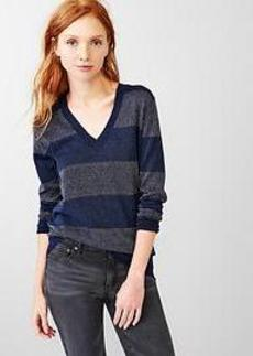 Shimmer stripe V-neck sweater