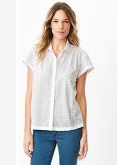 Shirred plaid shirt