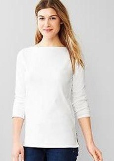 Side-zip boatneck tee