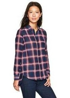 Silky plaid boyfriend shirt
