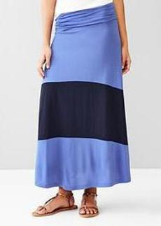 Single-stripe foldover maxi skirt