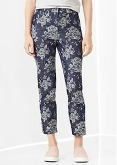 Slim cropped indigo jacquard pants