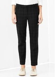 Slim cropped plaid wool pants