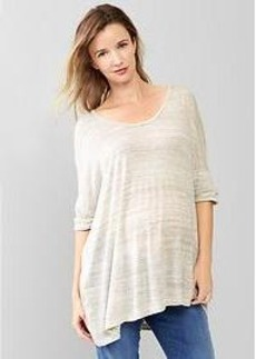 Space-dye banded sleeve top