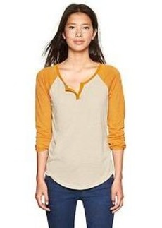 Split-neck baseball tee