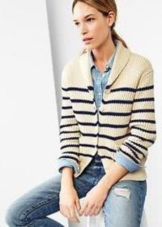Stripe chunky shawl cardigan