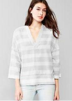 Stripe drapey V-neck top