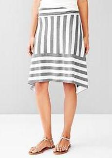Stripe foldover trapeze skirt