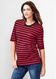 Stripe half-sleeve fluid tee
