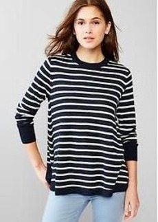 Stripe merino A-line sweater