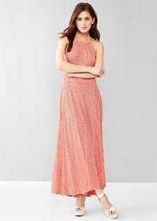 Stripe panel maxi dress