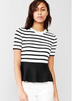 Stripe peplum sweater top