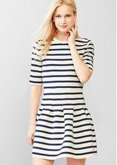 Stripe scuba fit & flare dress