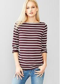 Stripe side-zip boatneck tee