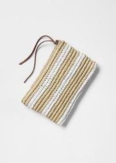 Stripe straw clutch