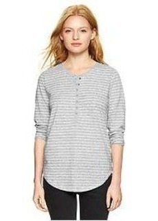 Stripe three-quarter sleeve henley