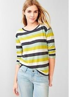Stripe three-quarter sleeve tee