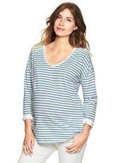Striped three-quarter sleeve doman top