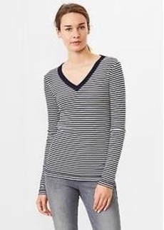 Supersoft stripe V-neck tee