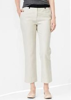 Tailored crop linen colorblock pants