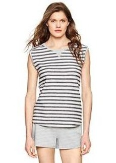 Terry stripe sleeveless shirt