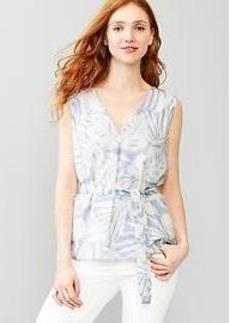 Tie-waist palm print top