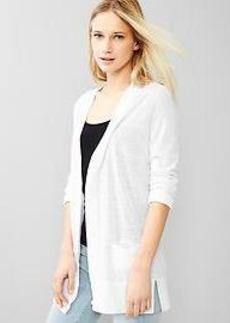 V-neck side-slit cardigan