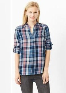 Western plaid popover shirt