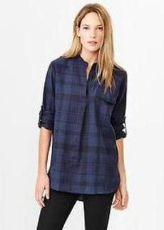 Western plaid popover shirt