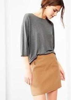 Wool zip-pocket skirt