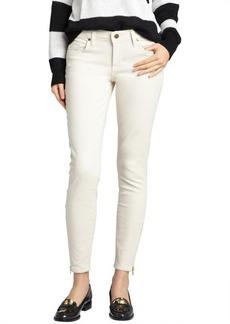 Genetic Denim winter white lowrise skinny gold zip jeans