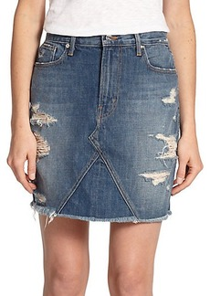 Genetic Los Angeles Gordon Distressed Denim Mini Skirt