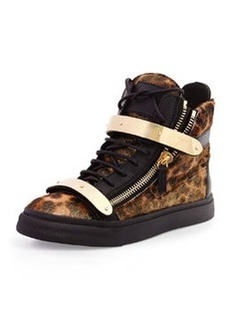 Calf Hair High-Top Sneaker, Leopard   Calf Hair High-Top Sneaker, Leopard