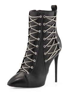 Chain-Trim Boxer Bootie, Black   Chain-Trim Boxer Bootie, Black