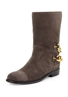 Double Chain-Back Suede Ankle Boot, Gray   Double Chain-Back Suede Ankle Boot, Gray